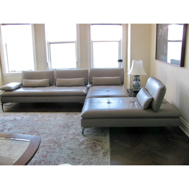 Roche Bobois Taupe 3 Pc Leather Sectional Sofa - Image 2 of 4