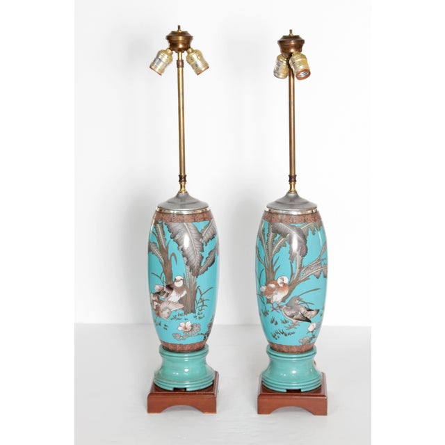 Pair 19th Century of French Cloisonne Lamps - Image 10 of 11