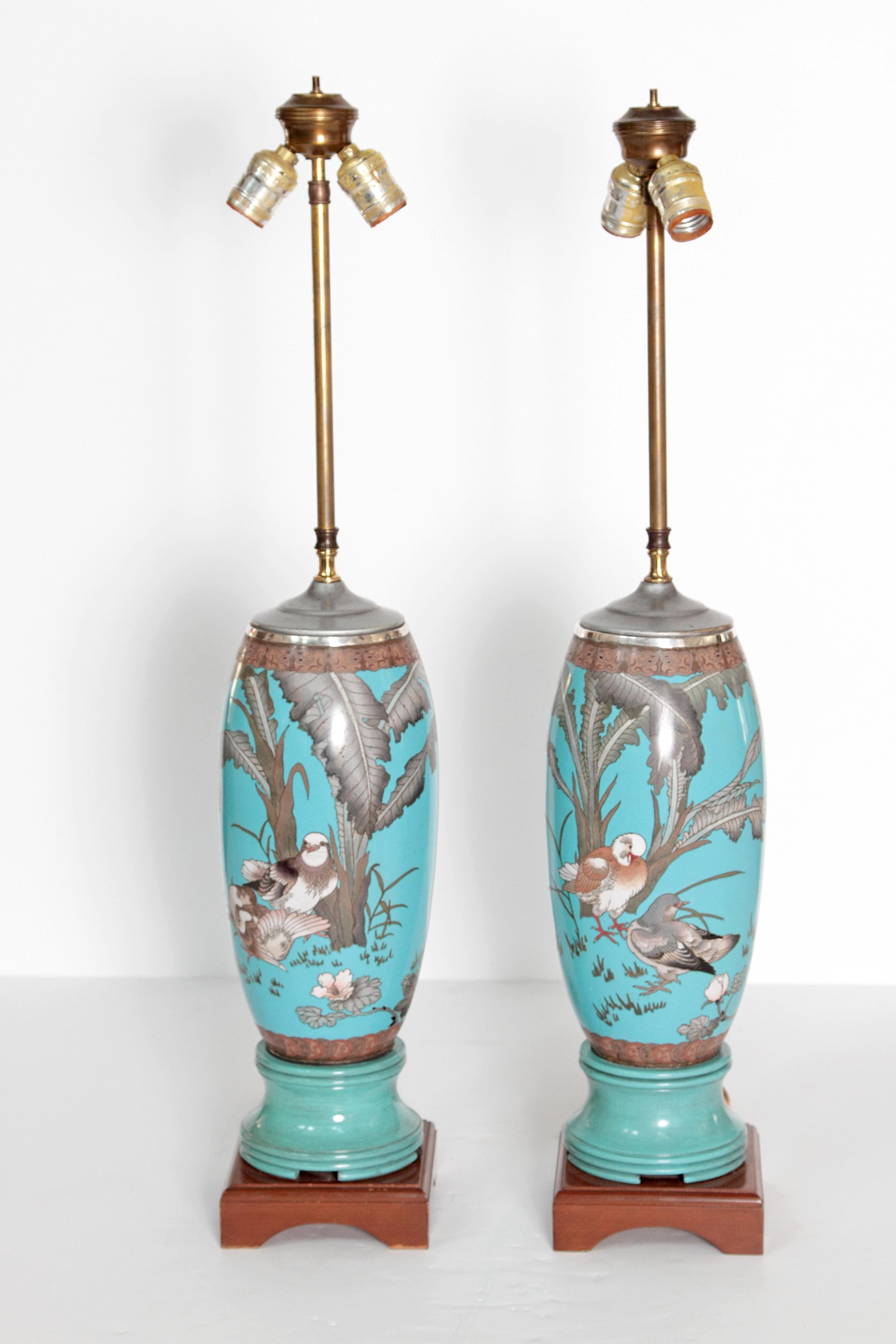 Pair 19th Century Of French Cloisonne Lamps   Image 10 Of 11