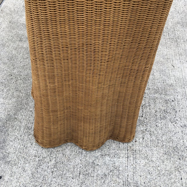 1970s 1970s Boho Chic Trompe L'oeil Rattan Skirted Console Ghost Table For Sale - Image 5 of 9