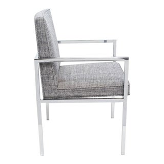 Mid-Century Modern Desk Chair in Chrome and Heather Blue by Milo Baughman, C. 1970's For Sale