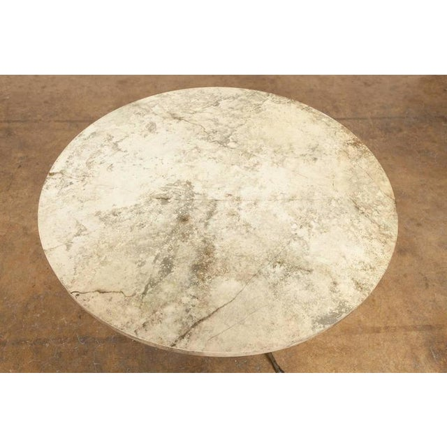 French Mid-Century Faux Marble Tripod Drink Table - Image 5 of 6
