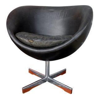 Westnofa Distressed Leather Planet Lounge Chair For Sale