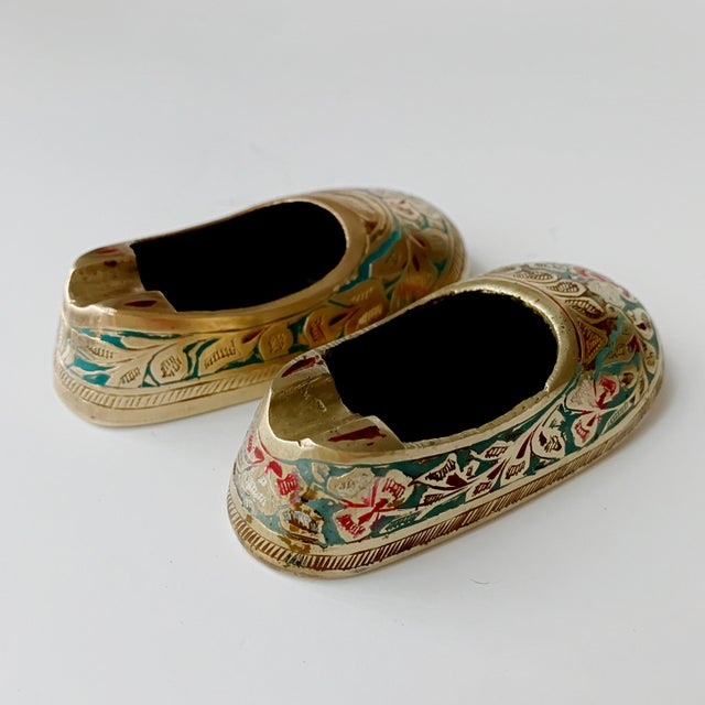 Vintage Ca 1960s Indian Mini Shoe Shape Ashtray - 2 Pieces For Sale - Image 9 of 12