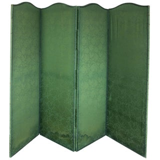 Four Panel Green Damask Screen With Blue Trim For Sale