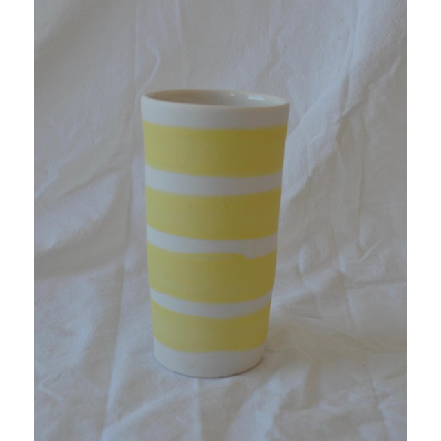 Contemporary Ceramic Multi Striped Cylindrical Vessels - Group of 5 For Sale - Image 10 of 13