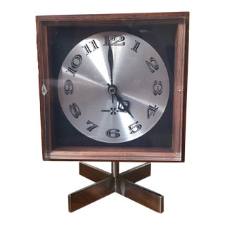 Arthur Umanoff Mid Century Rosewood Table Clock For Sale