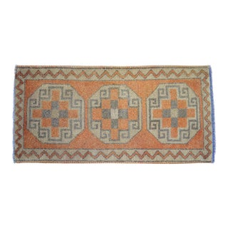 Distressed Small Rug Low Pile Oushak Yastik Rug Faded Mat - 18'' X 38'' For Sale