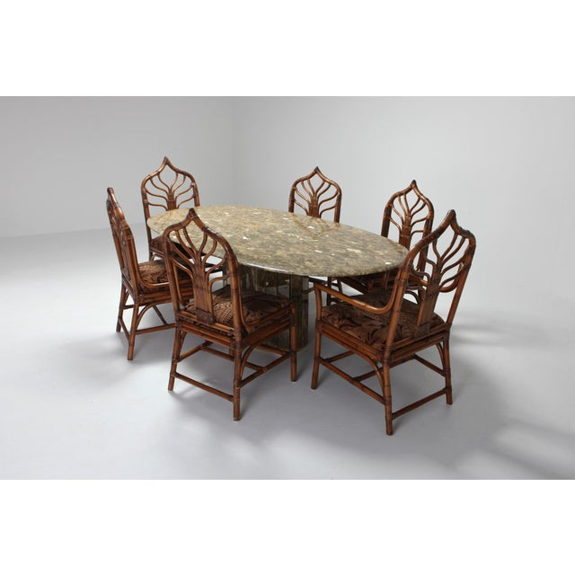 1970s Jean Charles Onyx and Gold Leaf Marble and Brass Dining Table For Sale - Image 5 of 10