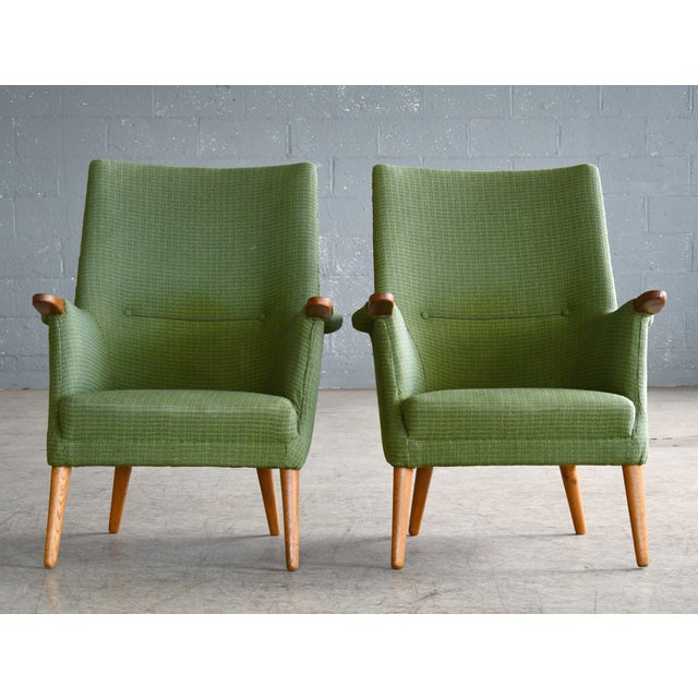 Mid-Century Modern Danish 1960s Hans Wegner Mama Bear Style Lounge Chairs by Poul Jessen - a Pair For Sale - Image 3 of 13