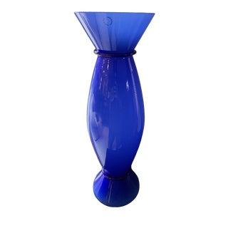 1980s Venini Murano Blue Vase For Sale