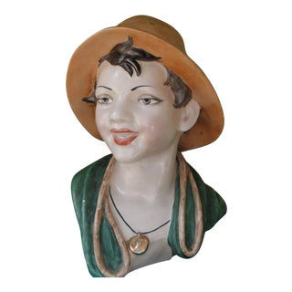 Vintage 1930s Vincenzo Bertolotti Hand Sculpted Bust TV Lamp For Sale
