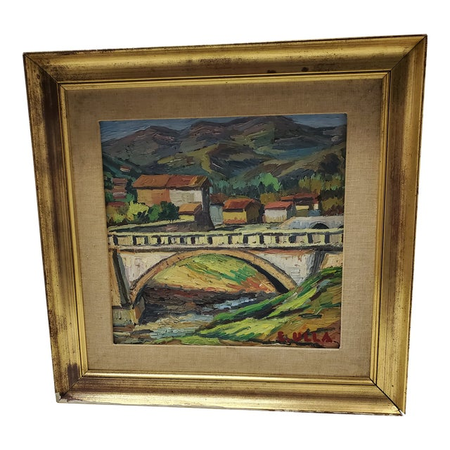 """Mid 20th Century """"The Bridge Before the Mountain"""" Painting For Sale"""