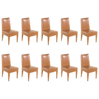 Set of Ten French 1940s Leather Upholstered Dining Chairs For Sale