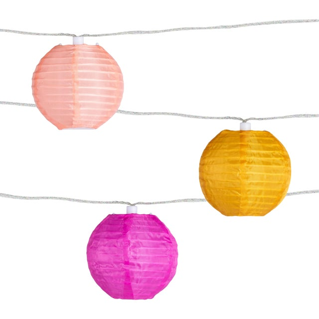 Glow Outdoor Solar String Lights in Peach Bellini For Sale