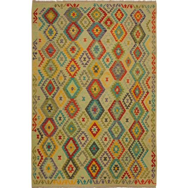 Green Araceli Ivory/Red Hand-Woven Kilim Wool Rug -6'9 X 10'0 For Sale - Image 8 of 8