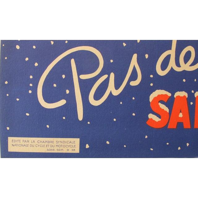 "Modern 1938 Original Advertising Banner, ""Pas De Belles étrennes Sans Bicyclette"" For Sale - Image 3 of 5"