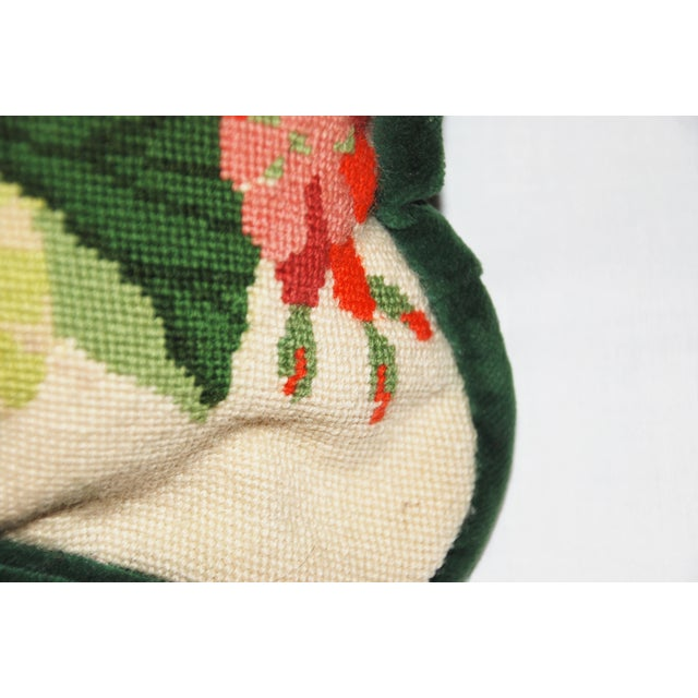 Vintage Geranium Needlepoint Pillow - Image 4 of 6