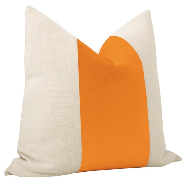 """Contemporary 22"""" Clementine Velvet Panel + Linen Pillows - a Pair For Sale - Image 3 of 6"""