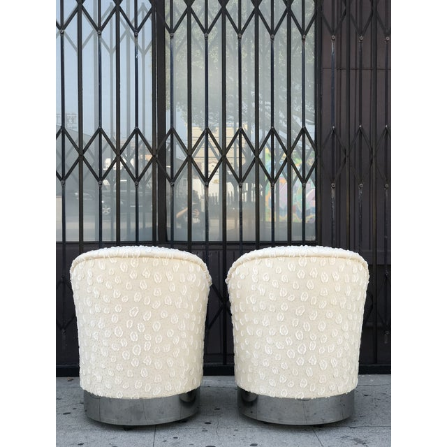 Rolling Chairs With Chrome Base in the Manner of Milo Baughman For Sale - Image 11 of 13