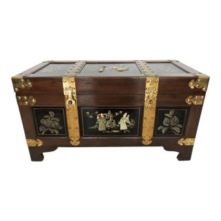 Vintage Chinese Wood & Brass Bound Storage Chest/Trunk With Jade & Soapstone Figures For Sale