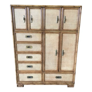 Drexel Heritage Faux Bamboo and Grass Cloth Dresser For Sale