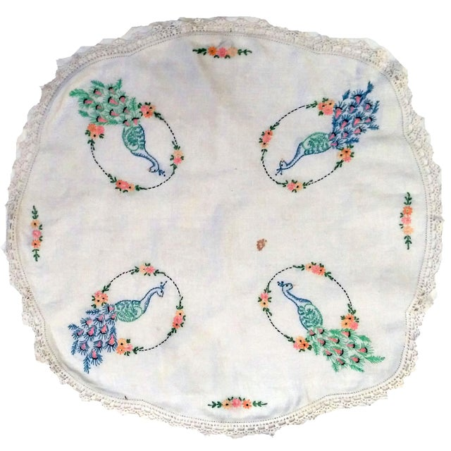 Vintage Peacock Embroidered Ecru Doilies - S/3 - Image 2 of 8