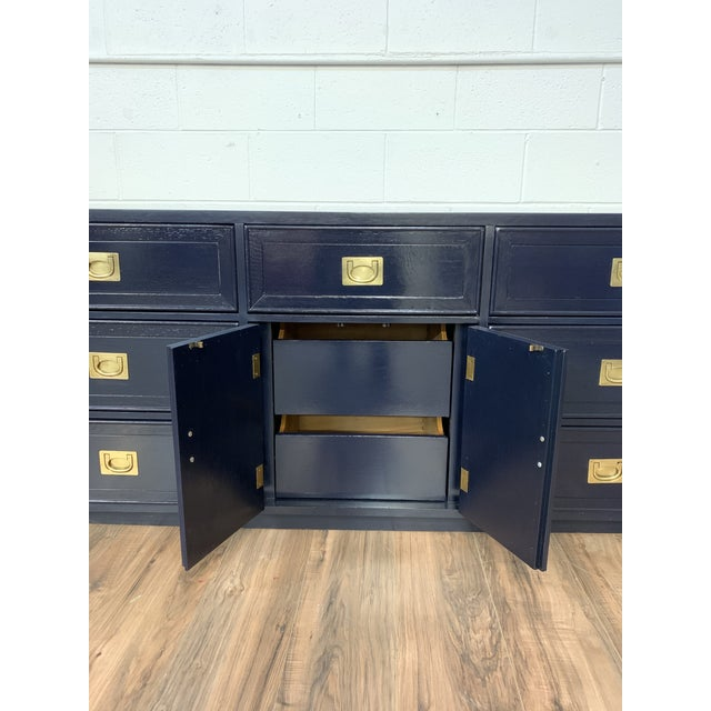Campaign 1960s Vintage Campaign Style Refinished Dresser WIth Two Mirrors For Sale - Image 3 of 10