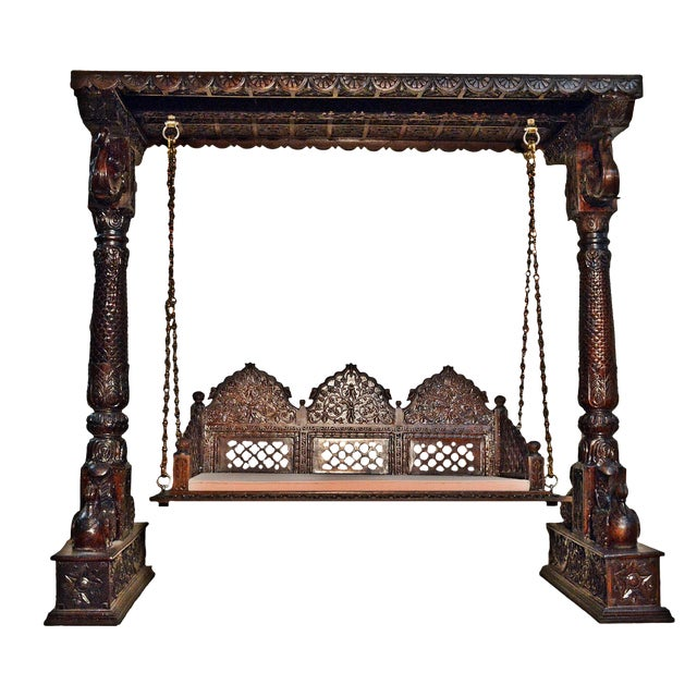 Carved Elephant & Peacock Brown Wooden Swing Set Indoor Jhula For Sale