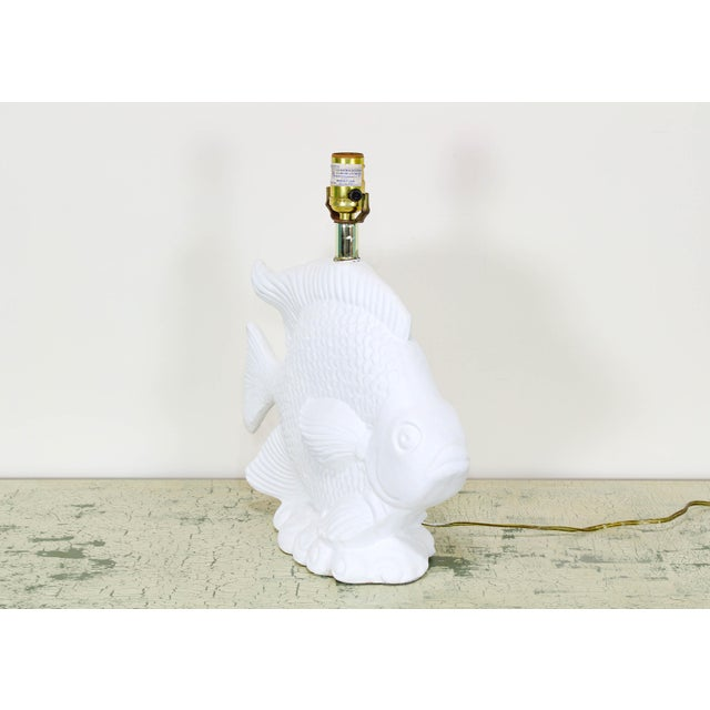 1970's plaster lamps depicting a fish this lovely lamp a white Gesso finish wired and in working condition Dimensions;...