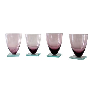 Vintage Fuscia Square Footed Modern Cordial Glasses - Set of 4 For Sale