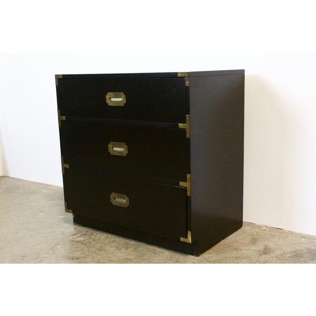Bauhaus Black Lacquered Three Drawer Campaign Chest For Sale - Image 3 of 12