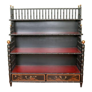 Asian Style Faux Bamboo Bookcase For Sale