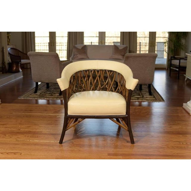 Cottage Stunning Pair of Rattan Club Chairs in Parchment Leather For Sale - Image 3 of 9