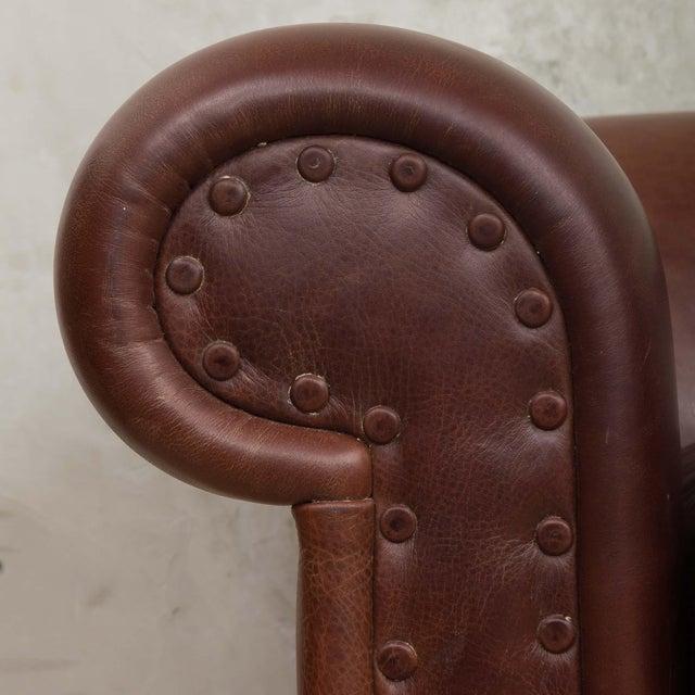 Leather Mid-Century Baxter Buffalo Leather Italian Sofa For Sale - Image 7 of 12