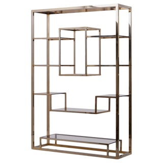 Very Huge Brass and Tinted Glass Bookshelf or Étagère by Romeo Rega For Sale