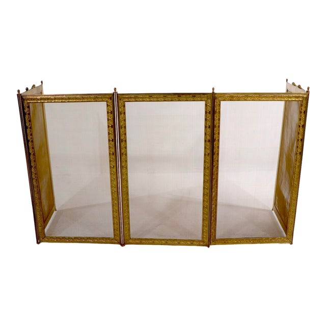 French Folding Fireplace Screen Spark Gard For Sale