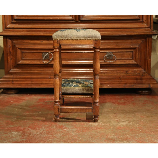 Wood 18th Century French Carved Chestnut Prayer Chair With Aubusson Tapestry For Sale - Image 7 of 8