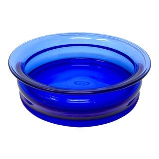 Danish Modern Holmegaard Blue Glass Catchall Dish For Sale