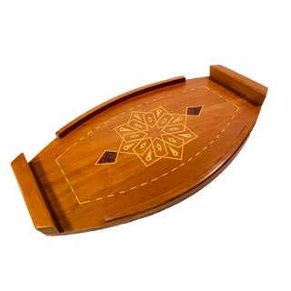 Vintage Islamic Geometric Style Inlaid Wood Serving Tray For Sale