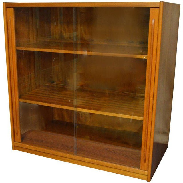 Brown Storage Cabinet, Teak with Glass Doors, Wired for Electronics, Midcentury For Sale - Image 8 of 8