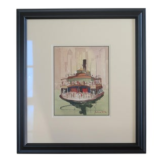 Norman Webb Mid-Century New York City Ferry Watercolor Painting For Sale