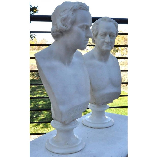 Pair of well carve marble busts of Johann Goethe Friedrich Schiller. Second quarter of the 19th century. One marked...