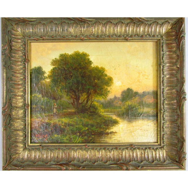 Green 1910 R. Fenson H. Maidment English Landscape Oil Painting Country Girl Stream For Sale - Image 8 of 11