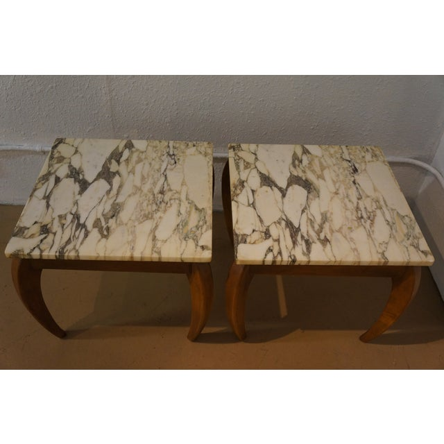 Mid-Century Marble and Walnut Side Tables - A Pair - Image 2 of 10