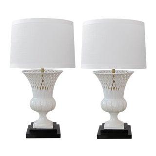 Elegant Italian White-Glazed Basket-Weave Urn-Form Lamps - a Pair For Sale