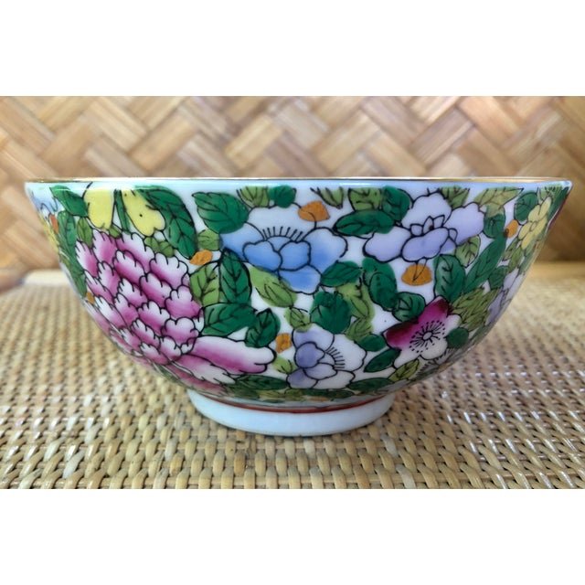Asian Hand Painted Pink Blue and Green Chinoiserie Floral Porcelain Bowl For Sale - Image 3 of 8