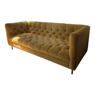Custom Anthropologie Minna Gold Tufted Velvet Sofa