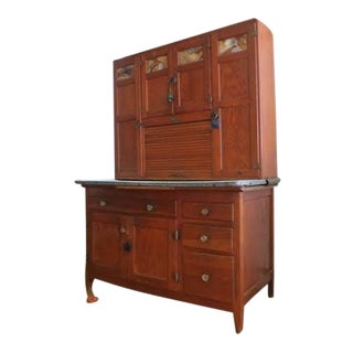 Hoosier Cupboard Turn of 20th Century Oak For Sale