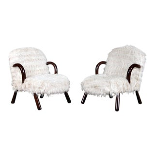 Pair of Philip Arctander Styled Flokati and Bentwood Lounge Chairs For Sale